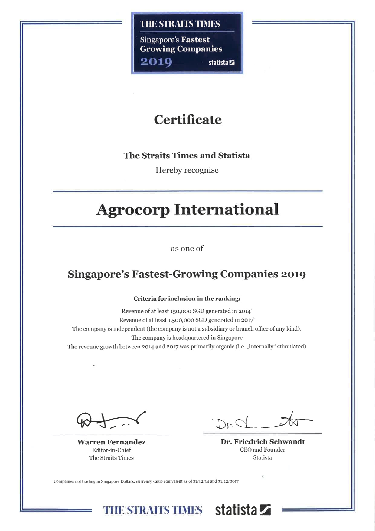 Agrocorp Fastest Growing Company in Singapore for 2019